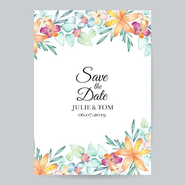 Invito a nozze floreale dell'acquerello Vettore Premium