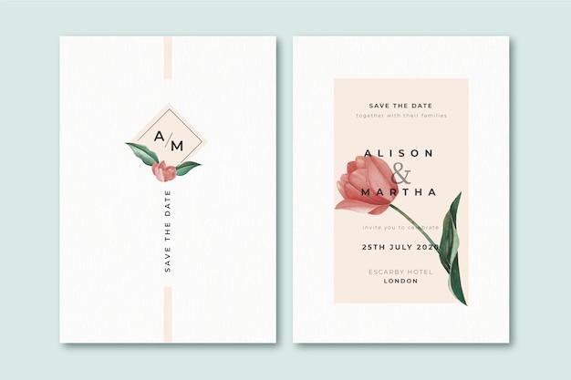 Invito a nozze floreale minimalista elegante modello Vettore gratuito