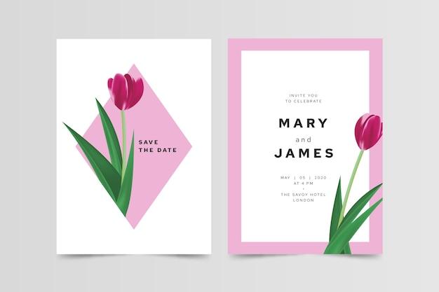 Invito a nozze floreale minimalista elegante Vettore gratuito
