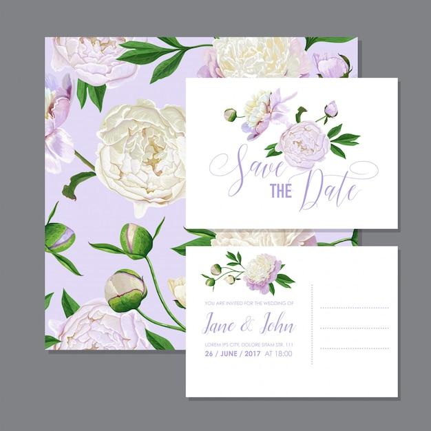 Invito a nozze floreale salva la data card Vettore Premium