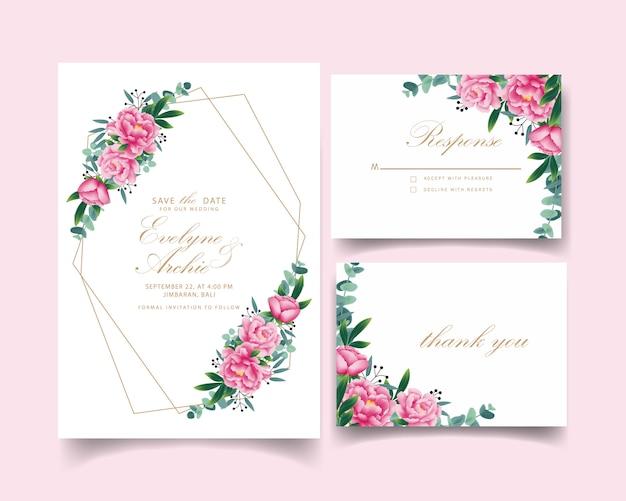 Invito a nozze floreale Vettore Premium