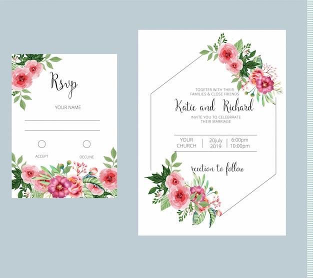 Invito a nozze floreali e modello di scheda rsvp Vettore Premium