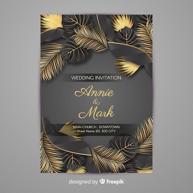 Invito a nozze foglie di palma d'oro Vettore gratuito
