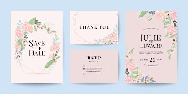 Invito a nozze, grazie e modello di scheda rsvp impostato Vettore Premium