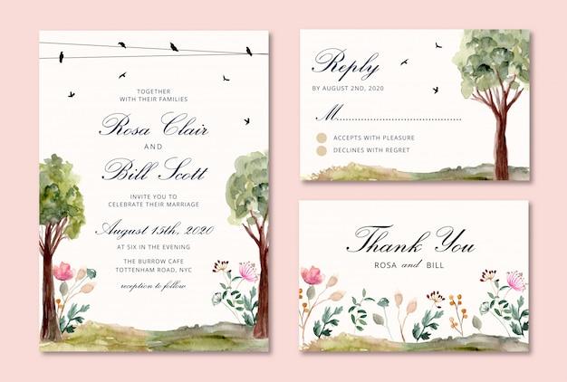 Invito a nozze impostato con acquerello di uccelli e alberi Vettore Premium