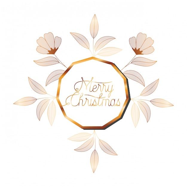 Invito a nozze in cornice dorata con fiori Vettore Premium