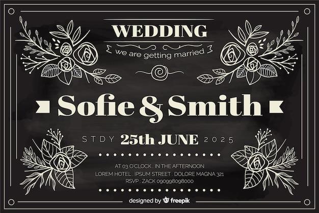 Invito a nozze in stile vintage scritto sulla lavagna Vettore gratuito