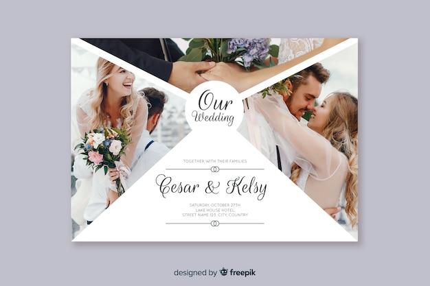 Invito a nozze incantevole con foto Vettore gratuito
