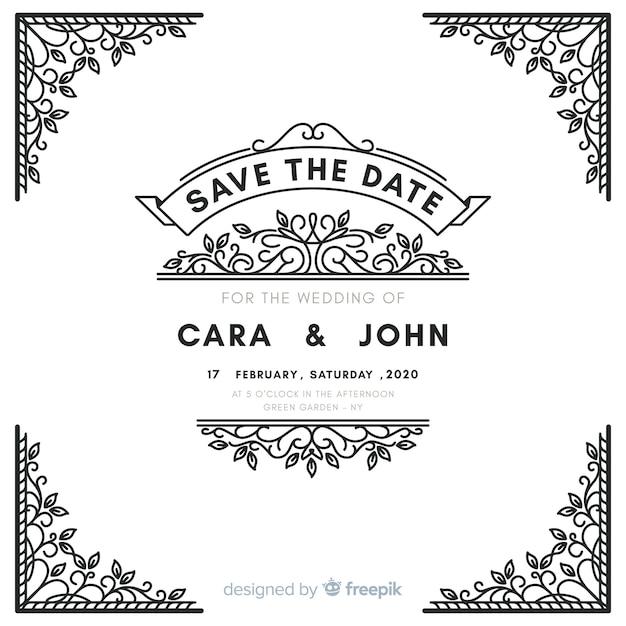 Invito a nozze ornamentale bianco Vettore gratuito