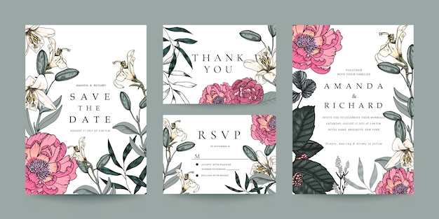 Invito a nozze, rsvp card, modello di scheda grazie Vettore Premium