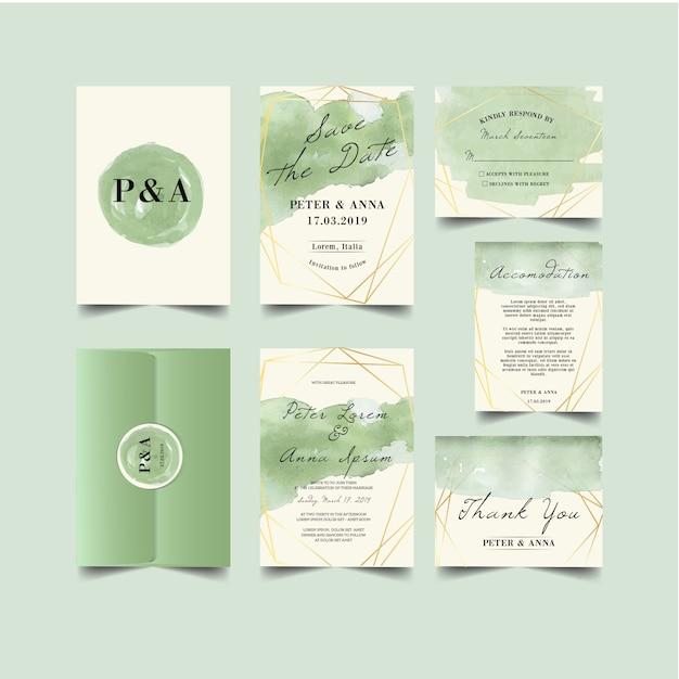 Invito a nozze splash di spazzole di verde Vettore Premium