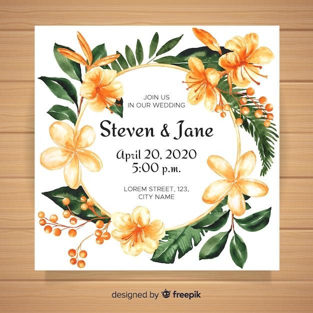 Invito a nozze tropicale dell'acquerello Vettore gratuito