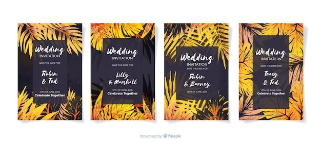 Invito a nozze tropicale Vettore gratuito
