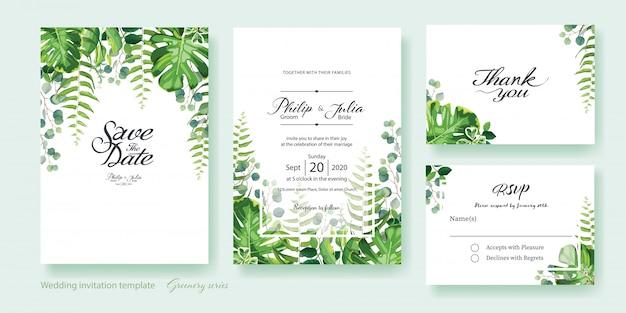 Invito a nozze verde Vettore Premium
