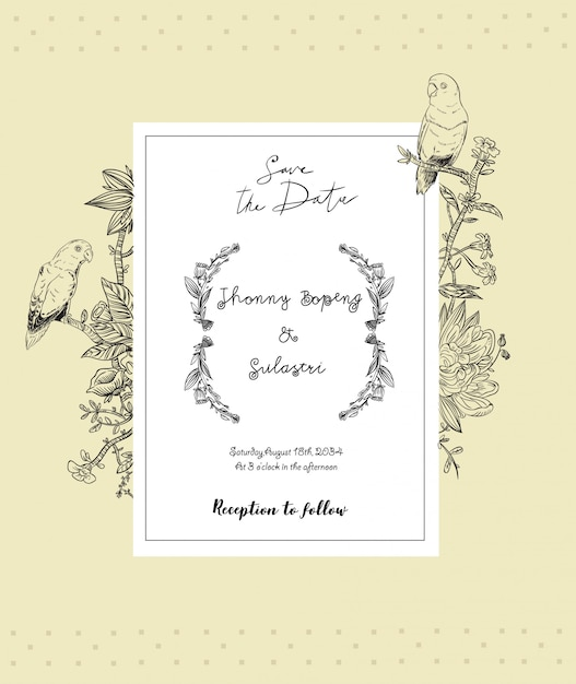 Invito a nozze vintage con cornice di fiori e uccelli Vettore Premium