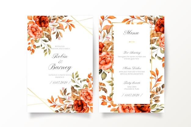 Invito a nozze vintage e modello di menu Vettore gratuito