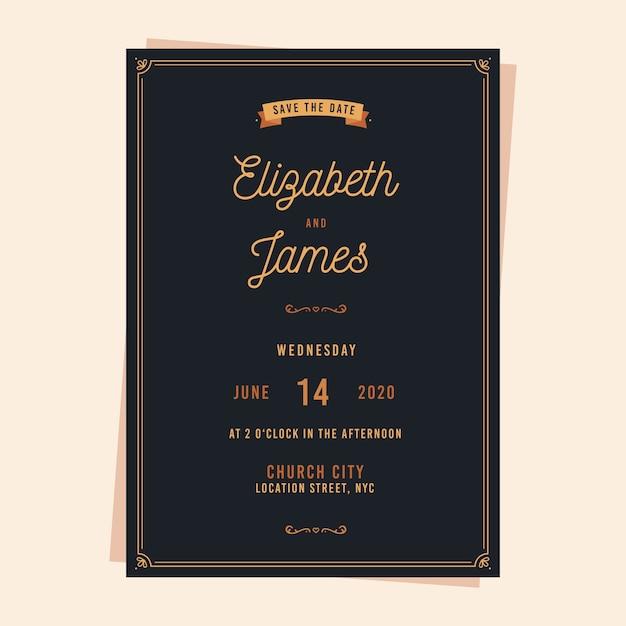 Invito a nozze vintage Vettore gratuito