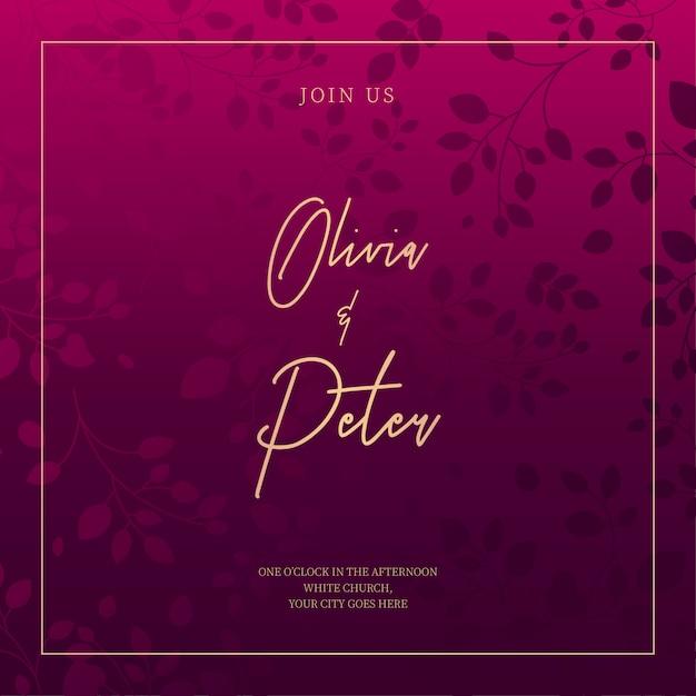 Invito a nozze viola con foglie ornamentali Vettore gratuito