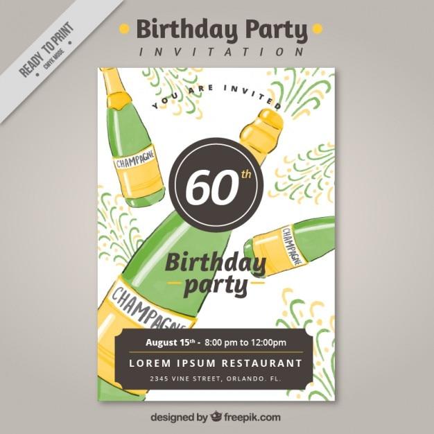 Invito A Una Festa Di Compleanno Con Bottiglie Di Champagne