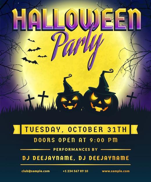 Invito a una festa di halloween. volantino. Vettore Premium