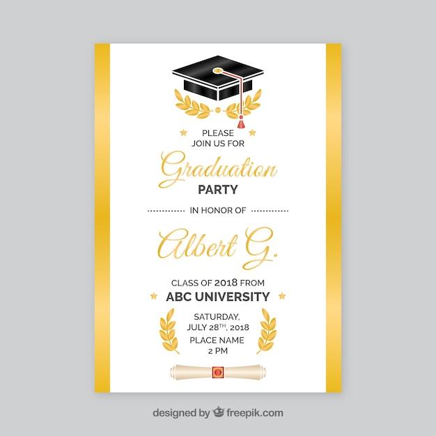 Invito a una festa di laurea bianca e dorata Vettore gratuito