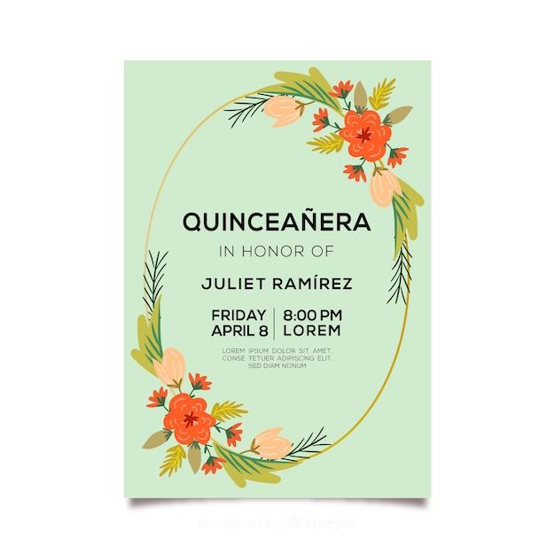 Invito a una festa di quinceañera con ghirlanda di fiori Vettore gratuito