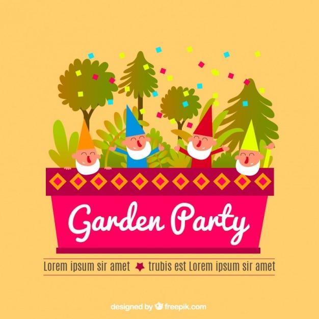 Invito a una festa pianeggiante con alberi e folletti Vettore gratuito
