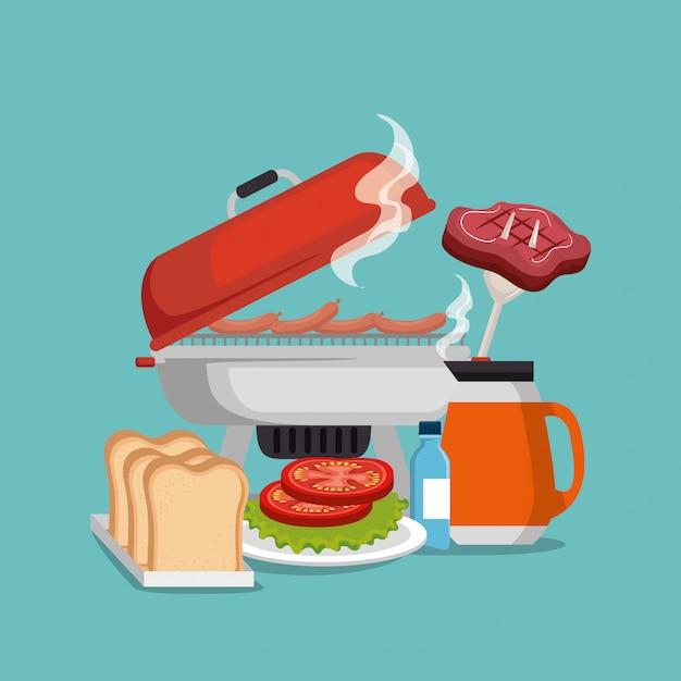 Invito a una festa picnic impostare icone Vettore gratuito