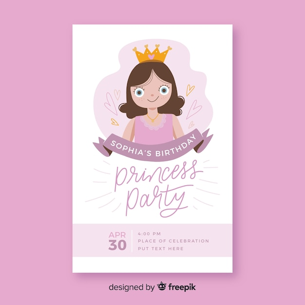 Invito a una festa principessa disegnato a mano Vettore gratuito