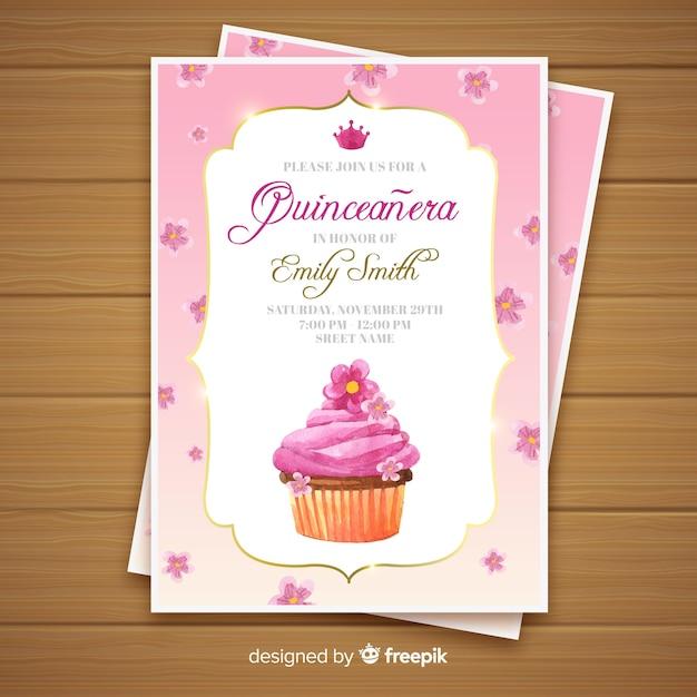 Invito a una festa quinceañera con cupcake Vettore gratuito