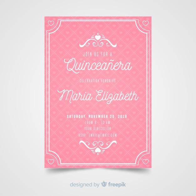 Invito a una festa rosa quinceañera Vettore gratuito
