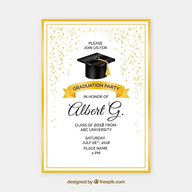 Invito alla festa di laurea d'oro creativo Vettore gratuito