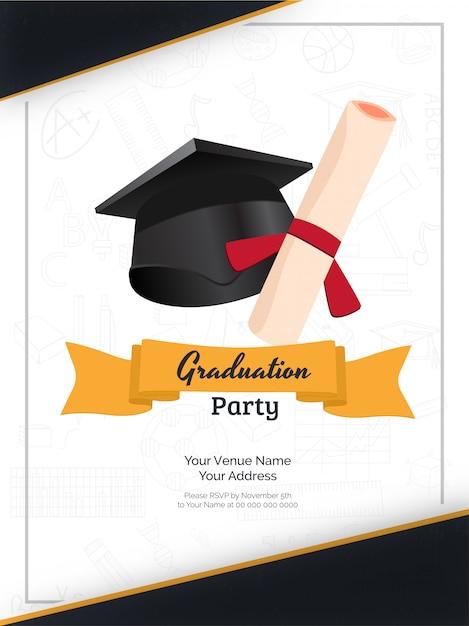 Invito alla festa di laurea. Vettore Premium