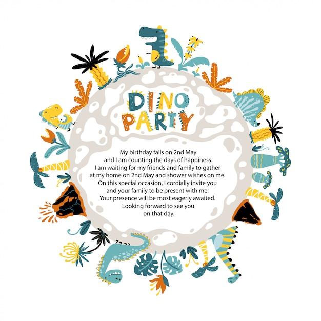 Invito alla festa dino di un pianeta rotondo con dinosauri, vulcani e piante fantastiche tropicali. Vettore Premium