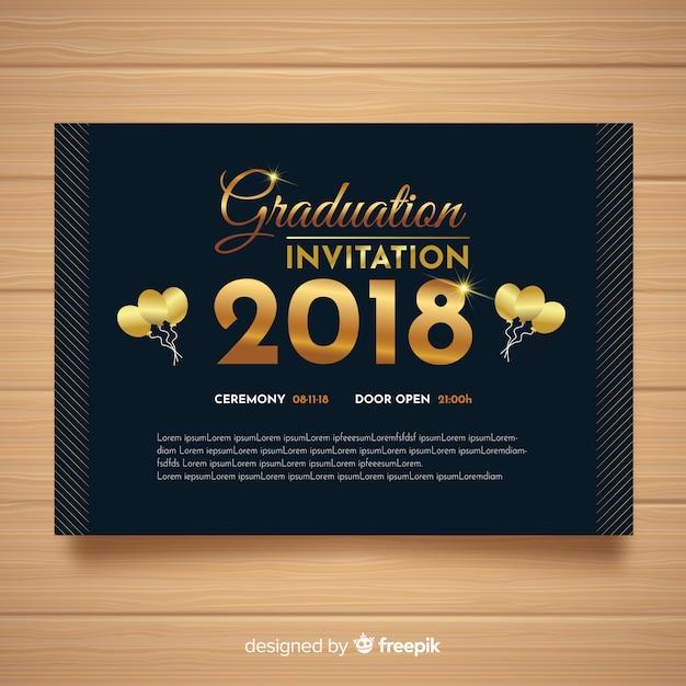 Invito alla laurea elegante con stile dorato Vettore gratuito