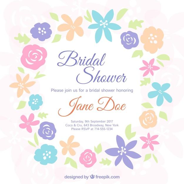 Invito bachelorette con fiori colorati Vettore gratuito