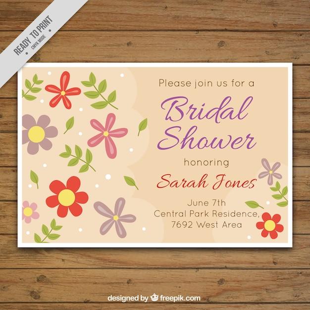 Invito bachelorette con fiori decorativi Vettore gratuito
