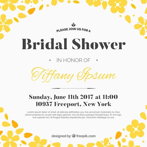 Invito bachelorette con fiori gialli Vettore gratuito