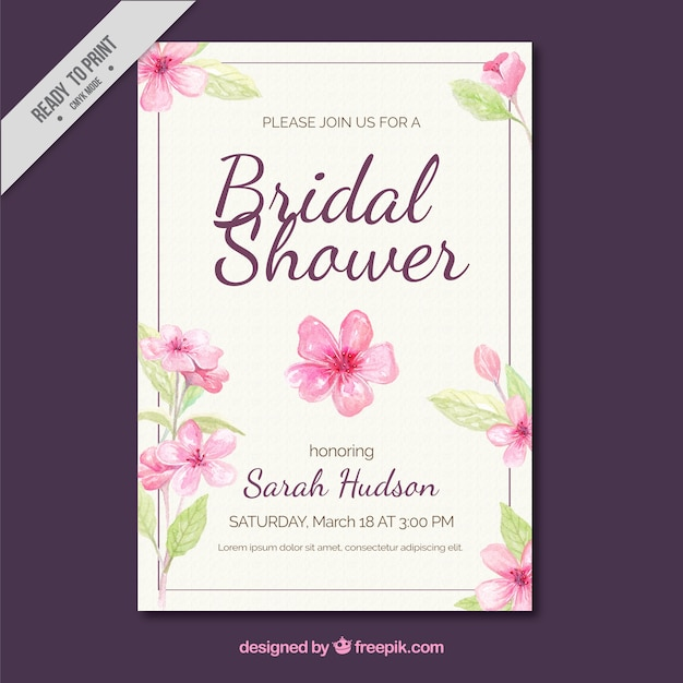 invito Bachelorette con i fiori ad acquerello Vettore gratuito