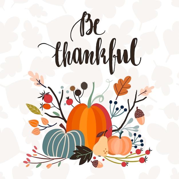 Invito / cartolina d'auguri del giorno del ringraziamento con scritte a mano e disposizione stagionale Vettore Premium