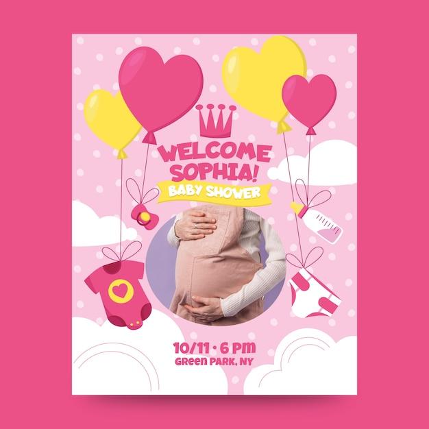 Invito dell'acquazzone della neonata con la foto Vettore gratuito