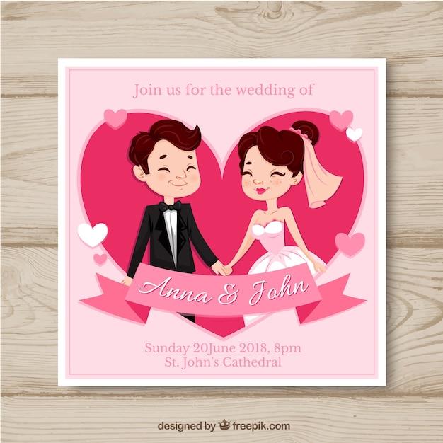 Invito della carta di nozze con stile disegnato delle coppie a disposizione Vettore gratuito