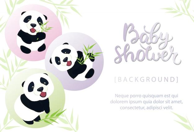 Invito della doccia di bambino con l'illustrazione sveglia del panda del bambino Vettore Premium
