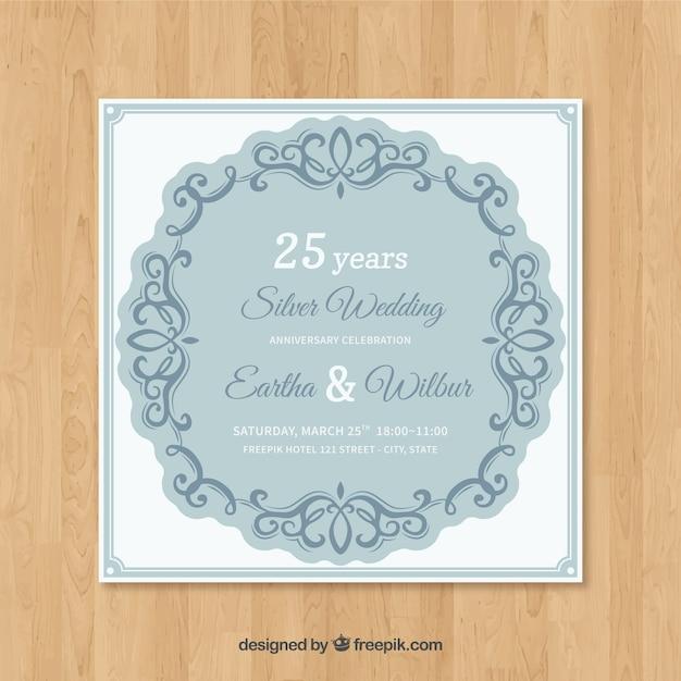 Inviti Anniversario Di Matrimonio Gratis.Invito Di Carta Anniversario Di Matrimonio Vettore Gratis