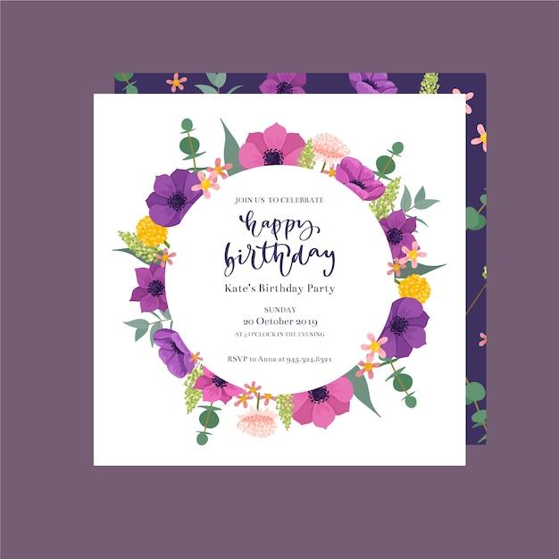 Invito di compleanno carino con fiori Vettore gratuito