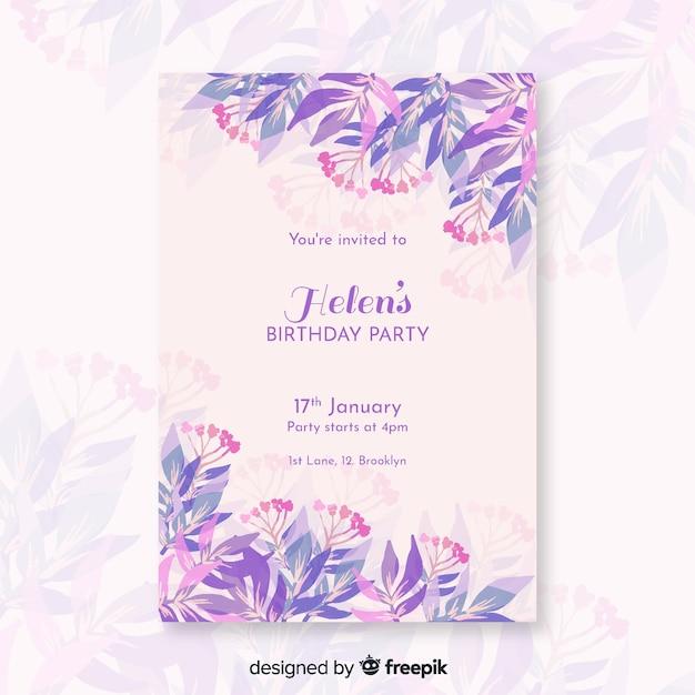 Invito di compleanno carino con modello di fiori Vettore gratuito