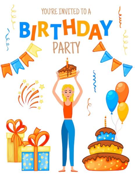 Invito di compleanno con una ragazza e la scritta Vettore Premium