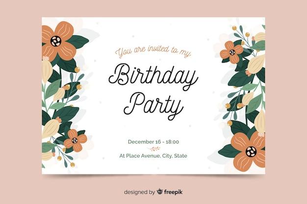 Invito di compleanno floreale modello Vettore gratuito
