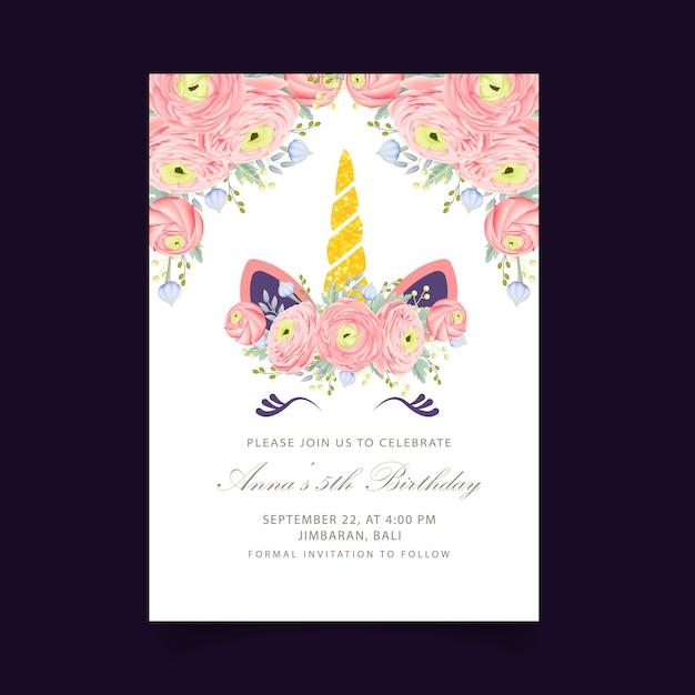 Invito di compleanno floreale per bambini con unicorno carino Vettore Premium