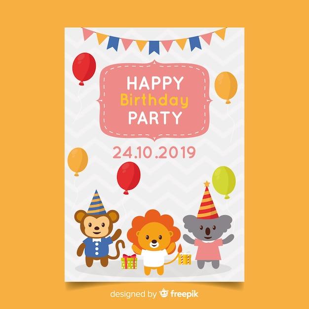 Invito di compleanno modello bambini Vettore gratuito